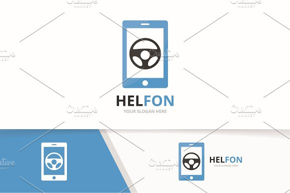 Vector Car Helm And Phone Logo Combination Steering Wheel And Mobile Symbol Or Icon Unique Rudder And Device Logotype Design Template
