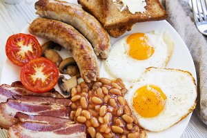 English breakfast with fried eggs