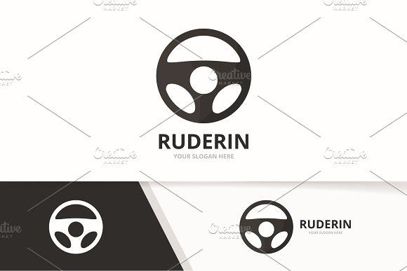 Vector Car Helm Logo Combination Steering Wheel Symbol Or Icon Unique Rudder Logotype Design Template
