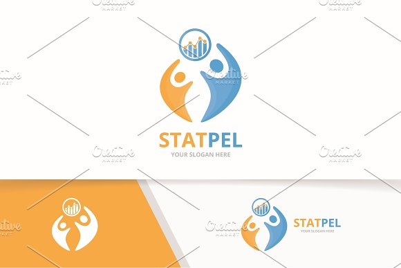 Vector Graph And People Logo Combination Diagram And Family Symbol Or Icon Unique Chart And Union Help Connect Team Logotype Design Template