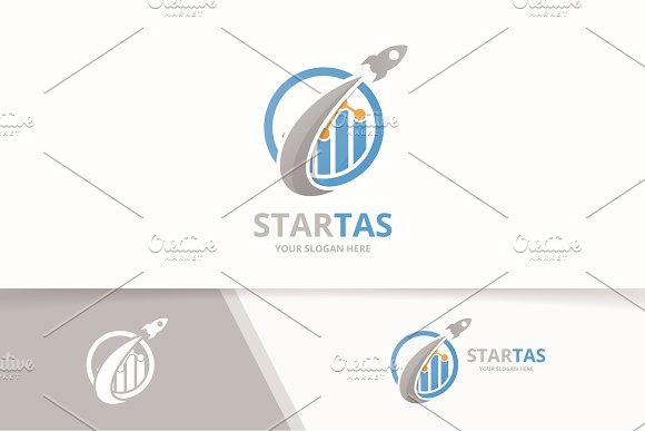 Vector Graph And Rocket Logo Combination Diagram And Airplane Symbol Or Icon Unique Chart And Flight Logotype Design Template