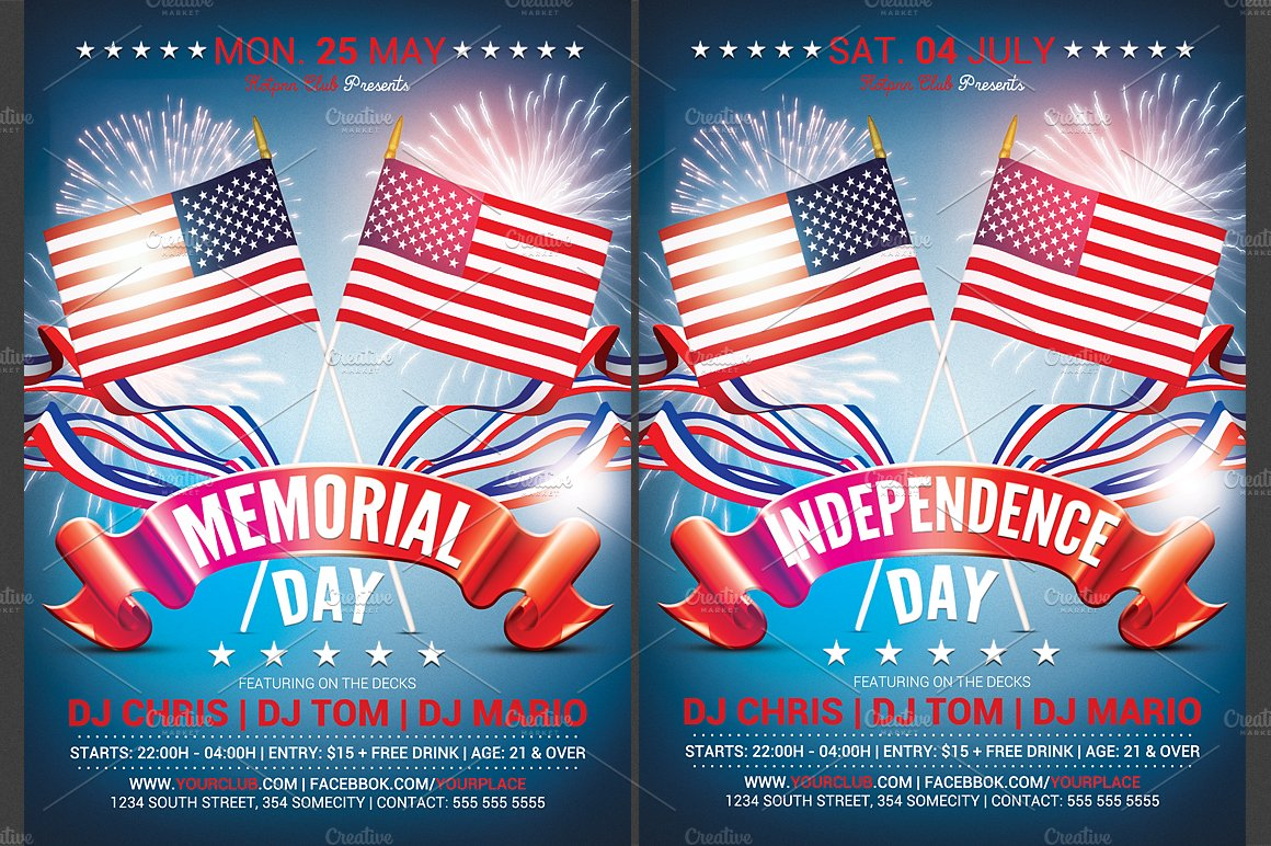 memorial independence day flyer flyer templates creative market