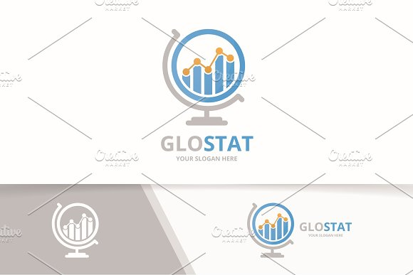 Vector Graph And Globe Logo Combination Diagram Planet Symbol Or Icon Unique Chart Logotype Design Template