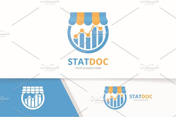 Vector Graph And Shop Logo Combination Diagram And Sale Symbol Or Icon Unique Chart And Market Logotype Design Template