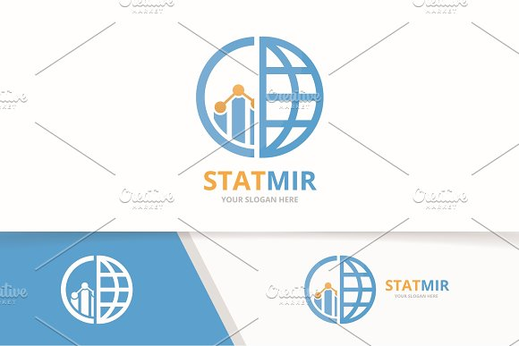 Vector Graph And Planet Logo Combination Diagram And World Symbol Or Icon Unique Chart And Globe Logotype Design Template