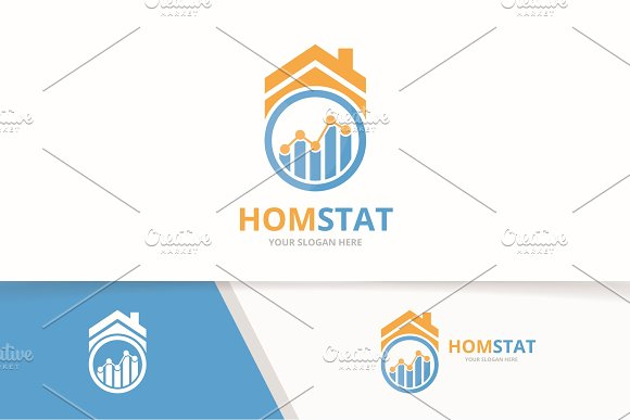 Vector Graph And Real Estate Logo Combination Diagram And House Symbol Or Icon Unique Chart And Rent Logotype Design Template