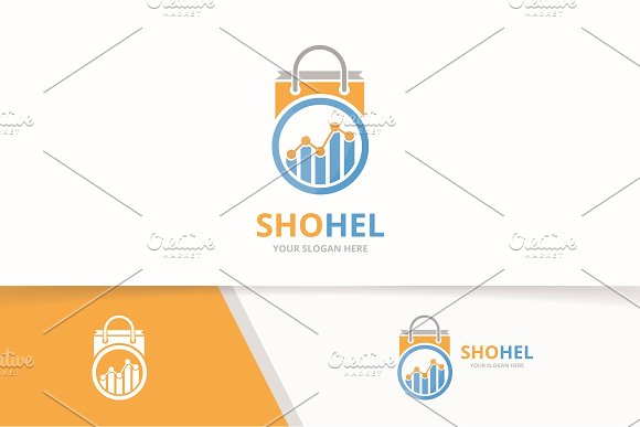 Vector Graph And Shop Logo Combination Diagram And Sale Symbol Or Icon Unique Chart And Bag Logotype Design Template
