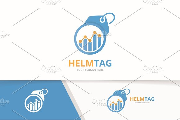 Vector Graph And Tag Logo Combination Diagram And Shop Symbol Or Icon Unique Chart And Label Logotype Design Template