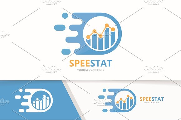 Vector Fast Graph Logo Combination Speed Diagram Symbol Or Icon Unique Chart And Digital Logotype Design Template