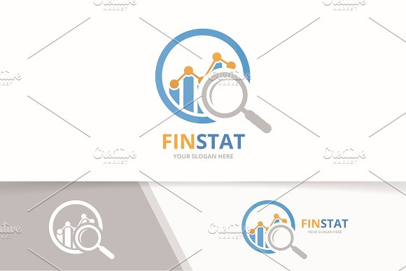Vector Graph And Loupe Logo Combination Diagram And Magnifying Symbol Or Icon Unique Chart And Search Logotype Design Template