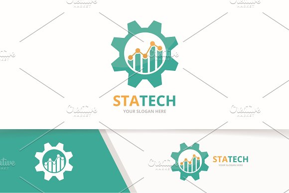 Vector Graph And Gear Logo Combination Diagram And Mechanic Symbol Or Icon Unique Chart And Industrial Logotype Design Template