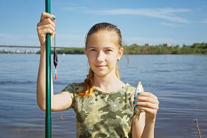 A teenage girl on a fishing trip aga