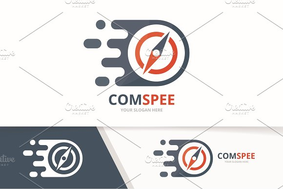 Vector Fast Compass Logo Combination Speed Navigation Symbol Or Icon Unique Travel And Digital Logotype Design Template