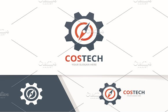 Vector Compass And Gear Logo Combination Navigation And Mechanic Symbol Or Icon Unique Travel And Industrial Logotype Design Template