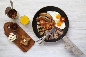 English breakfast in a frying pan
