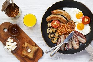 English breakfast in a pan with