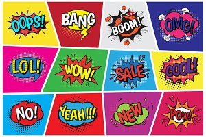 Pop art comic vector speech cartoon bubbles in popart style with humor text boom or bang bubbling expression asrtistic comics shapes set isolated on background illustration