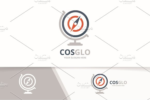 Vector Compass And Globe Logo Combination Navigation Planet Symbol Or Icon Unique Travel Logotype Design Template