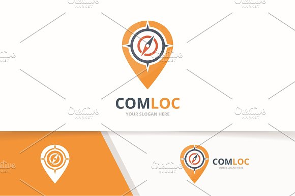Vector Compass And Map Pointer Logo Combination Navigation And Gps Locator Symbol Or Icon Unique Travel And Pin Logotype Design Template