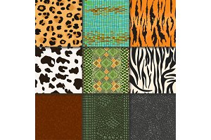 Animal skins vector pattern seamless animalistic skinny textured backdrop of wild skinning natural fur illustration wildlife background set