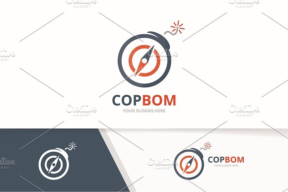 Vector Compass And Bomb Logo Combination Navigation And Detonate Symbol Or Icon Unique Travel And Weapon Logotype Design Template