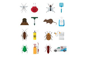 Insects control vector anti pest insecticide aerosol spray and chemical insecticidal sprayer for protection from bugs or mosquito illustration set isolated on white background