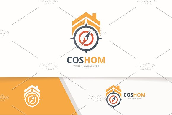 Vector Compass And Real Estate Logo Combination Navigation And House Symbol Or Icon Unique Travel And Rent Logotype Design Template