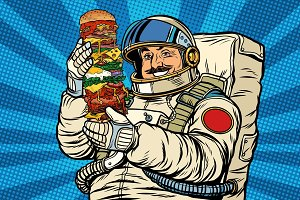 Mustachioed astronaut with giant Burger