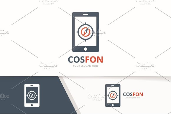 Vector Compass And Phone Logo Combination Navigation And Mobile Symbol Or Icon Unique Travel And Device Logotype Design Template