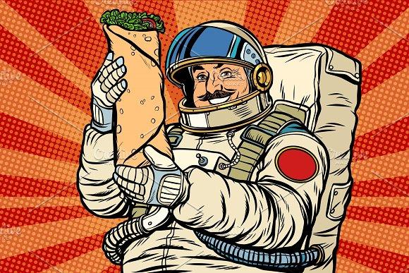 Mustachioed Astronaut With Shawarma Kebab Doner