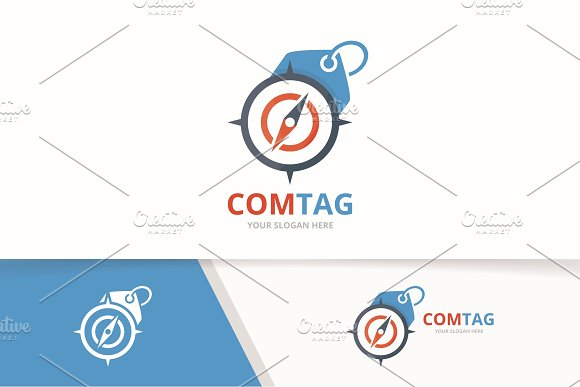 Vector Compass And Tag Logo Combination Navigation And Shop Symbol Or Icon Unique Travel And Label Logotype Design Template