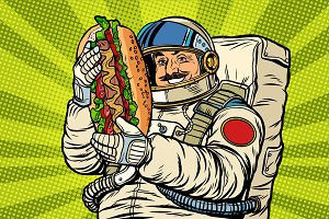 Moustached astronaut with a hotdog