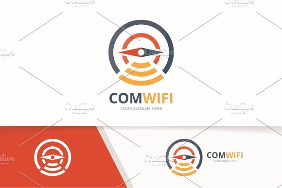 Vector Compass And Wifi Logo Combination Navigation And Signal Symbol Or Icon Unique Travel And Radio Internet Logotype Design Template