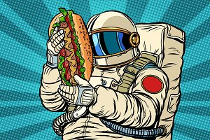 astronaut with a hot dog, street fast food