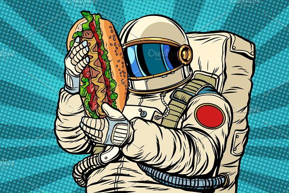 Astronaut With A Hot Dog Street Fast Food