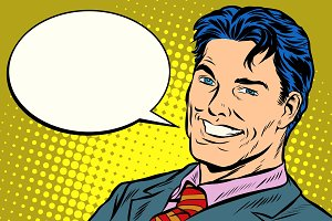 smiling businessman speech comics bubble