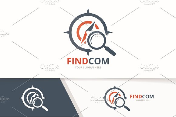 Vector Compass And Loupe Logo Combination Navigation And Magnifying Symbol Or Icon Unique Travel And Search Logotype Design Template