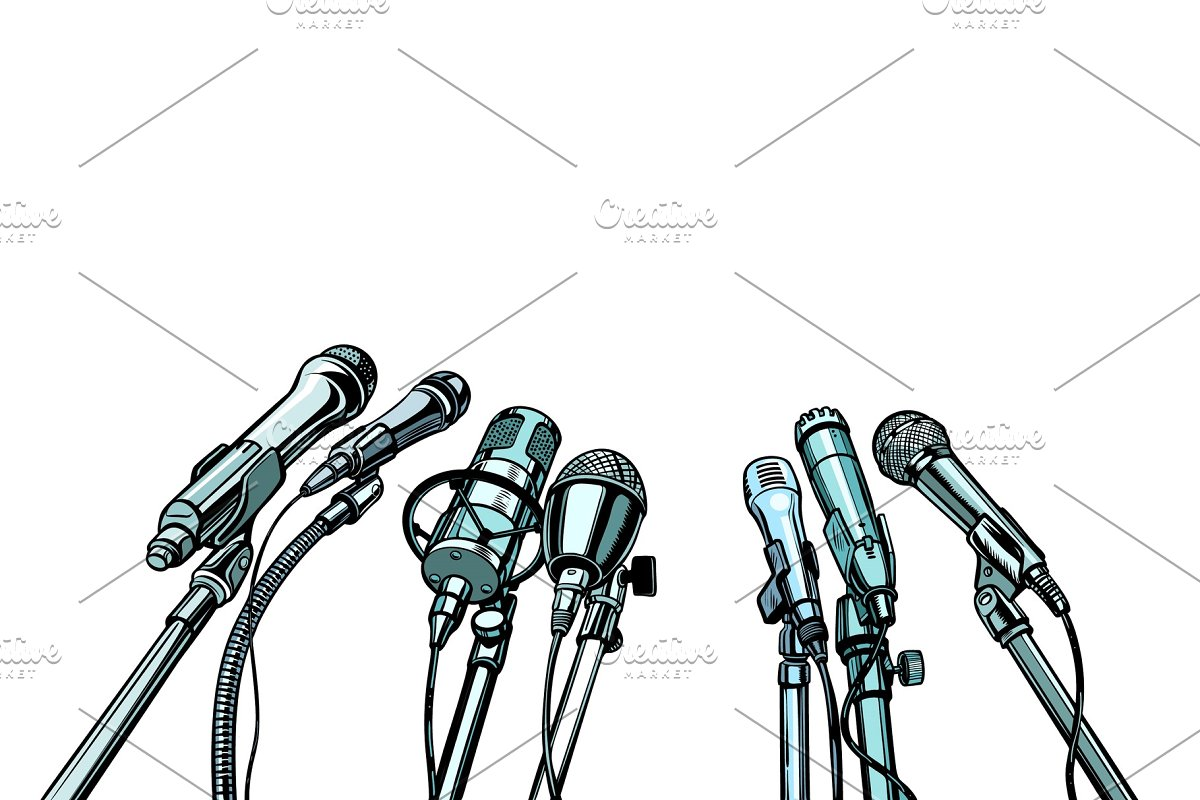 many microphones interview background