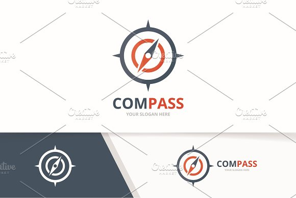Vector Compass Logo Combination Navigation Symbol Or Icon Unique Travel Logotype Design Template