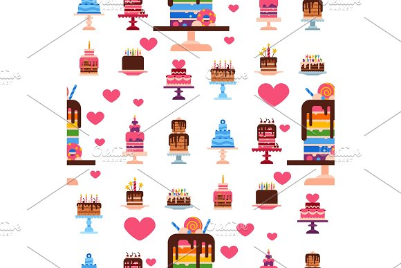 Wedding Or Birthday Pie Cakes Flat Sweets Dessert Bakery Ceremony Delicious Seamless Pattern Background Vector Illustration