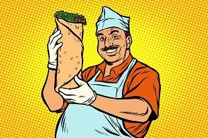 smiling Oriental street food chef. Kebab Shawarma Doner