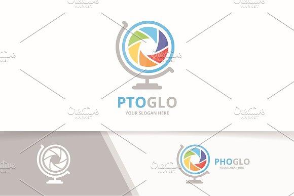 Vector Camera Shutter And Globe Logo Combination Lens Planet Symbol Or Icon Unique Photo Logotype Design Template