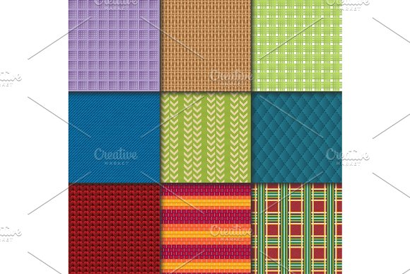 Textile Seamless Pattern Vector Fabric Textured Background And Gingham Cloth Texture Backdrop Illustration Of Backcloth Wallpaper Set