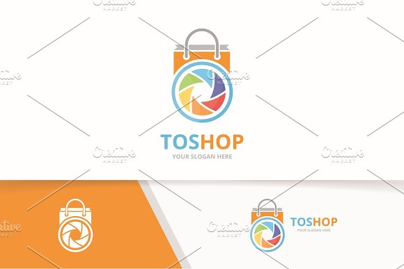 Vector Camera Shutter And Shop Logo Combination Lens And Sale Symbol Or Icon Unique Photo And Bag Logotype Design Template