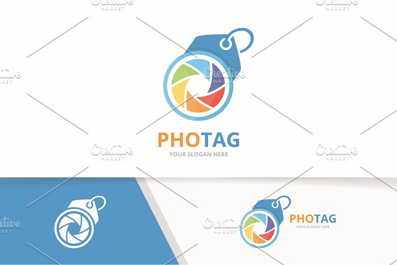 Vector Camera Shutter And Tag Logo Combination Lens And Shop Symbol Or Icon Unique Photo And Label Logotype Design Template