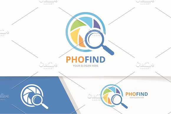 Vector Camera Shutter And Loupe Logo Combination Lens And Magnifying Symbol Or Icon Unique Photo And Search Logotype Design Template
