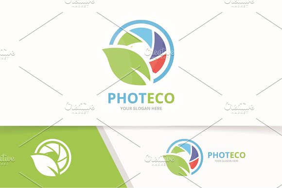 Vector Camera Shutter And Leaf Logo Combination Lens And Eco Symbol Or Icon Unique Photo And Organic Logotype Design Template