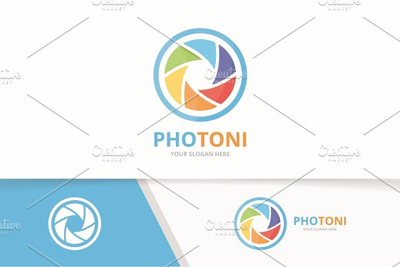 Vector Camera Shutter Logo Combination Lens Symbol Or Icon Unique Photo Logotype Design Template