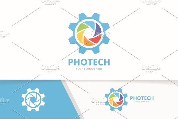 Vector Camera Shutter And Gear Logo Combination Lens And Mechanic Symbol Or Icon Unique Photo And Industrial Logotype Design Template