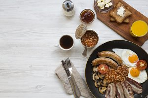 Full English breakfast in a pan with